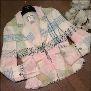 CHANEL - 美品 シャネル レア!入園 入学 春 パステル系 マルチカラー ジャケット ♡