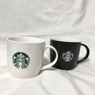 スターバックスコーヒー(Starbucks Coffee)のスタバ スターバックス カップ マグ 白 黒 2個 セット 未使用品(グラス/カップ)