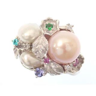Pt900  指輪 真珠パール マルチストーン リング(リング(指輪))