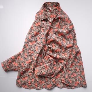 オレンジのお花✖︎ペイズリー✖︎ボタニカル柄シャツ♡フォロ割-¥200(シャツ/ブラウス(長袖/七分))