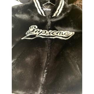 Supreme - supreme Faux Fur Varsity Jacket  黒 L 最安値