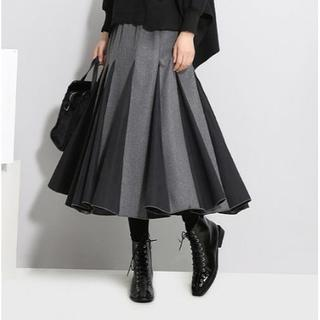【グレー×ブラック】プリーツスカート フレアスカートボックスプリーツ(ロングスカート)
