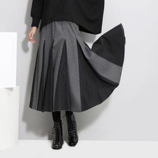 【グレー×ブラック】プリーツスカート フレアスカート スカート Aラインスカート(ひざ丈スカート)