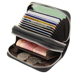 コインケース 小銭入れ カードケース ウォレットBLACK 大容量 ジャバラ