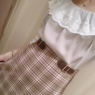 エブリン(evelyn)のevelyn ベルトチェック台形スカート(ひざ丈スカート)