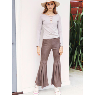 ALEXIA STAM - Rib Stretch Flare Pants Light Brown