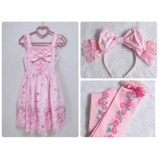Angelic Pretty - Angelic Pretty ティアラローズ セット ピンク JSK KC ON