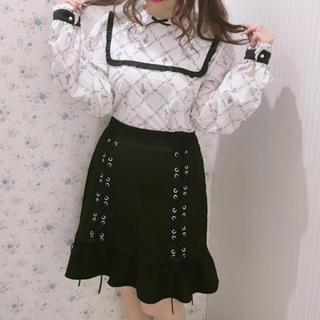 ハニーシナモン(Honey Cinnamon)のハニーシナモン 裾フリルレースアップスカート 黒 編み上げ フリル スカート(ひざ丈スカート)