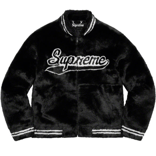 Supreme - 黒L Supreme Faux Fur Varsity Jacket