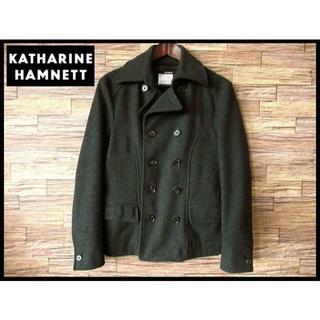 キャサリンハムネット(KATHARINE HAMNETT)の美品 キャサリンハムネット メルトン ウール ショート Pコート グレー M(ピーコート)