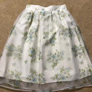 ヘザー(heather)のヘザー 花柄スカート オーガンジースカート (ひざ丈スカート)