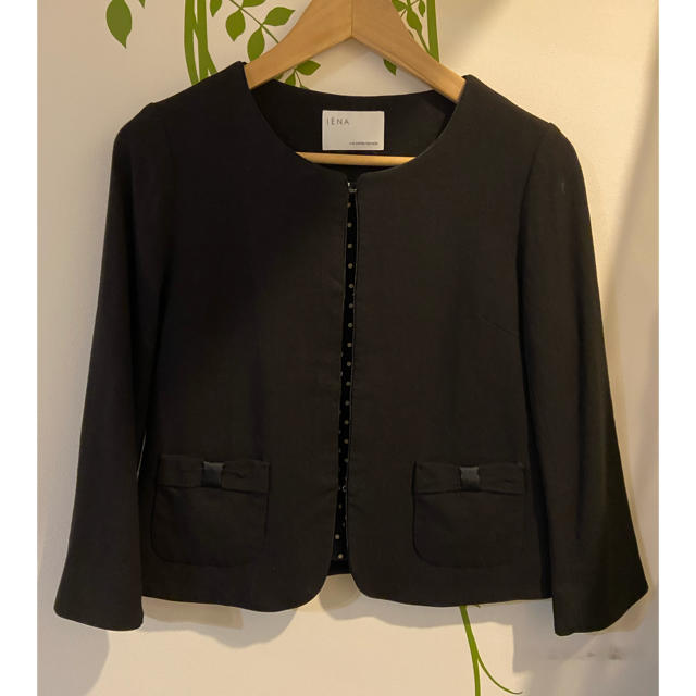 IENA(イエナ)のIENA イエナ ジャケット リネン混 黒 レディースのジャケット/アウター(ノーカラージャケット)の商品写真