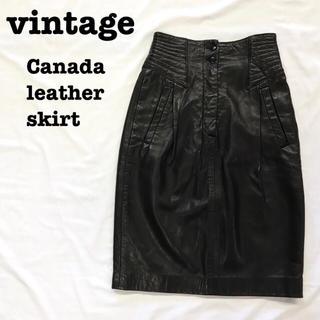 Santa Monica - 美品【 vintage 】 カナダ製 レザースカート レトロスカート ブラック