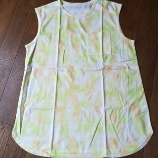ジーユー(GU)のGU 新品 タイダイプリントT(ノースリーブ)+E  色 イエロー (Tシャツ(半袖/袖なし))