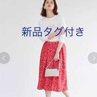 ロペ(ROPE)の新品 ロペ フラワー柄 スカート(ひざ丈スカート)