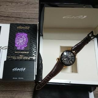 ガガミラノ(GaGa MILANO)の【正規品】ガガミラノメンズ腕時計 マヌアーレ ブラックカーボン(腕時計(アナログ))