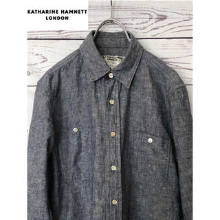 キャサリンハムネット(KATHARINE HAMNETT)のKATHARINE HAMNETT 七分袖 リネン麻混インディゴシャツ M(シャツ)