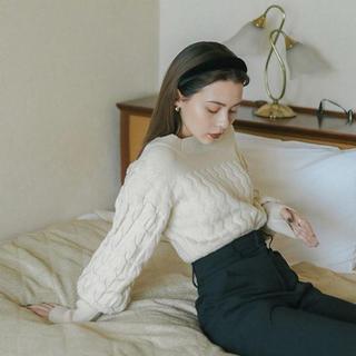 EDIT.FOR LULU - sheer puffy knit ivory ニット アイボリー