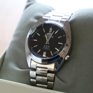 ORIENT - 【美品】オリエント 黒文字盤 ステンレス メンズ クオーツ 腕時計