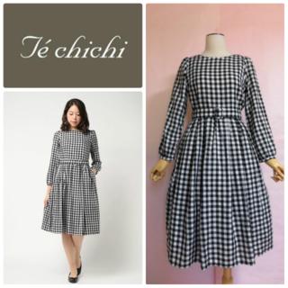 Techichi - 【Te chichi】ブロックギンガムワンピース☆黒白☆春フィット&フレア