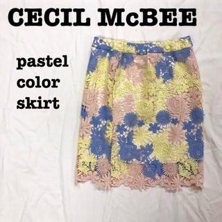 CECIL McBEE - 美品【 CECIL McBEE  】 レーススカートパステルカラー 新品未使用