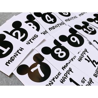 月齢カード マンスリーカード 命名書 ディズニー風