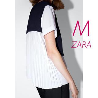 ZARA - 新品未使用 ZARA バックプリーツ 異素材 コンビ 半袖 シャツ ブラウス M