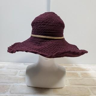 トゥモローランド(TOMORROWLAND)のGREVI グレヴィ つば広 コーデュロイハット ボルドー 帽子(ハット)