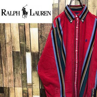 Ralph Lauren - 【激レア】ラルフローレン☆ワンポイント刺繍チェックタッチマルチストライプシャツ