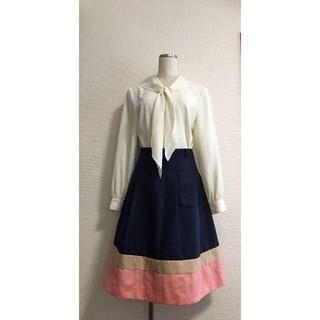 ロペ(ROPE)のデザイン★トリプルカラースカート★裾カラー切り替え(ひざ丈スカート)