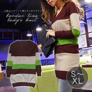 【お買い得☆】 4サイズから選べるVネックリブ袖ニットセーター(ニット/セーター)