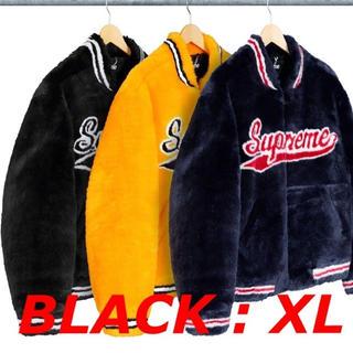 Supreme - Supreme Faux Fur Varsity Jacket BLACK XL