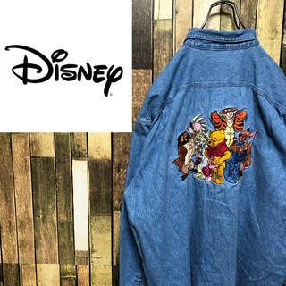 Disney - 【激レア】ディズニー☆くまのプーさんバックビッグキャラ刺繍デニムシャツ 90s