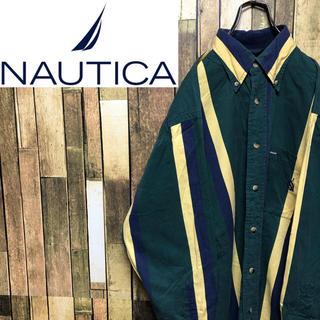 NAUTICA - 【激レア】ノーティカ☆ワンポイント刺繍ロゴボールドマルチストライプシャツ 90s