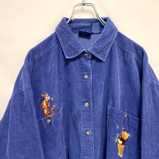 Disney - 希少 90s ディズニー くまのプーさん コーデュロイシャツ 刺繍ロゴ 美品