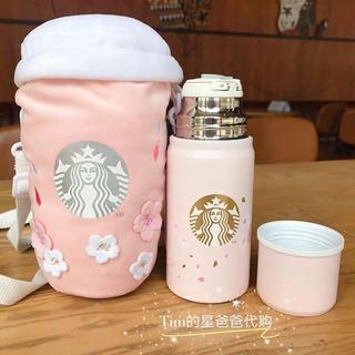 Starbucks Coffee - ボトルホルダー付!桜 ステンレスボトル サーモス コップ付 台湾スターバックス