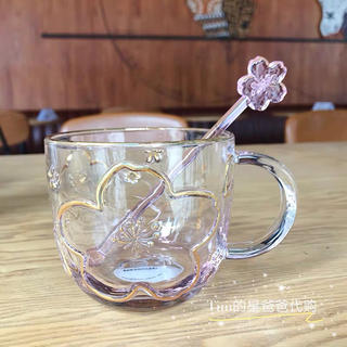 Starbucks Coffee - マドラー付!ガラスマグカップ グラス 桜 猫 タンブラー 台湾スターバックス