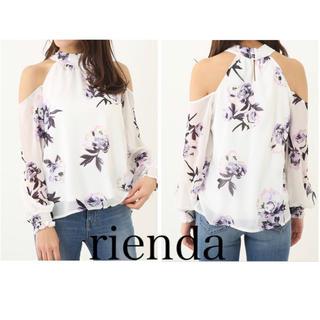 rienda - rienda花柄ショルダーTOPS