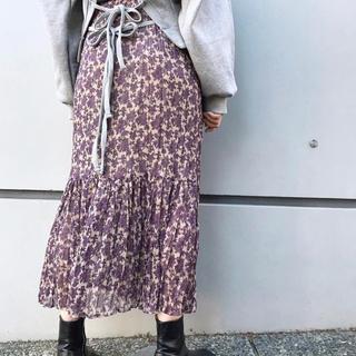 Kastane - kastane 花柄プリーツティアードスカート