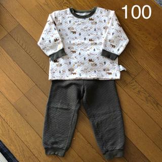 UNIQLO - 【100】ユニクロ 長袖 キルトパジャマ ツリー くま 動物*カーキ