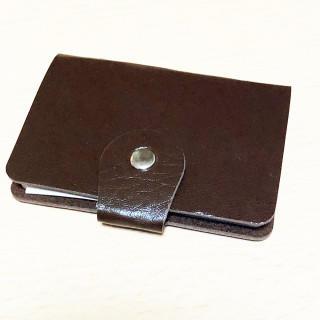 セール! 24枚収納可 コンパクト カードケース 茶色(名刺入れ/定期入れ)