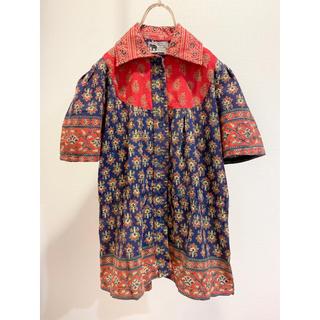 サンタモニカ(Santa Monica)の70s vintage 花柄 柄シャツ ギャザー 半袖シャツ ネイビー 紺(シャツ/ブラウス(半袖/袖なし))