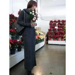 【激売れ!】ニット ワンピース セーター ロングワンピース ケーブル編み 緑(ロングワンピース/マキシワンピース)