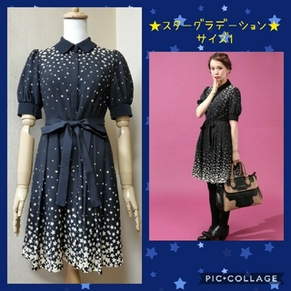 DOLLY GIRL BY ANNA SUI - ★大人気!!★ スターグラデーションワンピース黒 ★ サイズ1