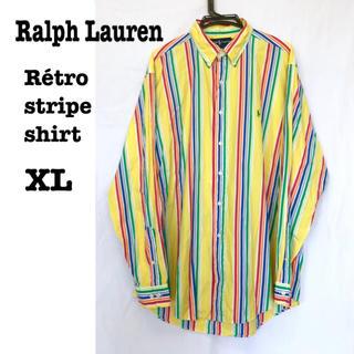 Ralph Lauren - 美品【 Ralph Lauren 】ストライプシャツ オーバーサイズ レインボー