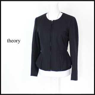 theory - セオリー★ノーカラージャケット 黒 ストレッチ 4(L) フォーマル ペプラム