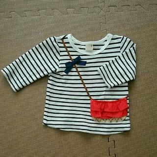 petit main - プティマイン ボーダー ショルダー 七分丈Tシャツ
