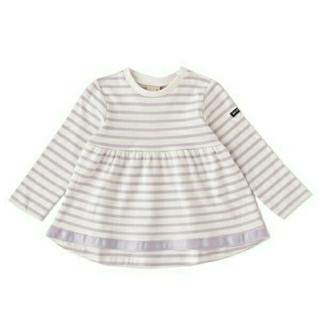 petit main - プティマイン ボーダーAラインシャツ 110