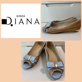 DIANA - ダイアナ ライトブルーレザー リボン パンプス