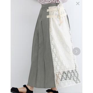 merlot - サイドベルトレースプリーツスカート
